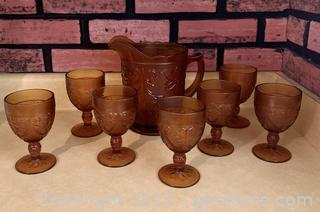 Amber Glass Pitcher and 7 Piece Goblet Set