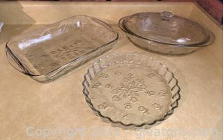 3 Piece Floral Embossed Corning Cookware