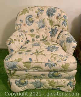 Floral Quilted Barrel Arm Chair