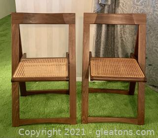 Wooden Folding Cane Bottom Chairs