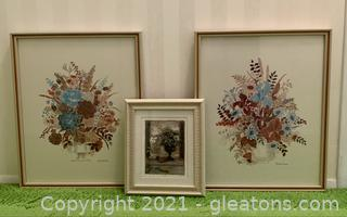 3 Inviting Floral Signed and Framed Prints