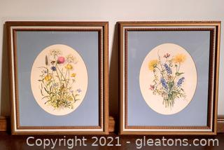 A Pair of Oval Matted Botanical Prints