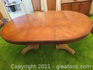 Two Pedestal Maple Dining Table With One Leaf