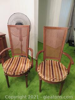 Six Maple Dining Chairs with Cane Back