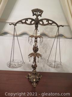 Stately Brass Scale Decor with Crystals