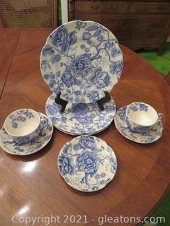 English Chippendale Blue and Johnson Bros. 3 Plates, 2 Cups, 3 Saucers