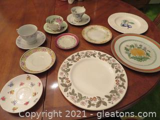 Lot of 4 Beautiful Plates, 3 China Cups and Saucers, and Three Saucers