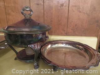 Silver Chafing Dish and Silver Serving Dish