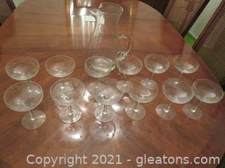 Glass Pitcher and 12 Champagne Glasses