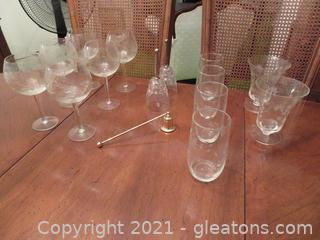 Various Drink Glasses, Two Bells and Candle Snuffer