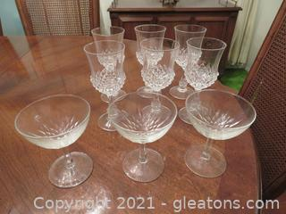 6 Crystal Wine Glasses and 3 Parfait Glasses