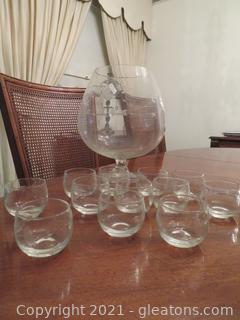 Twelve Brandy/Port Glasses and Large (Matching) Glass