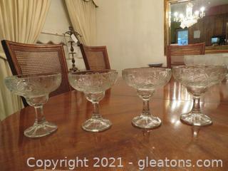 Four Heavy Margarita Glasses
