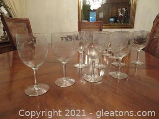 8 Large White Wine Glasses and 12 Small White Wine Glasses