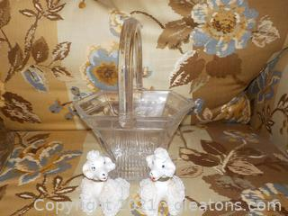 Shannon Lead Crystal Décor Basket and Vintage S/P