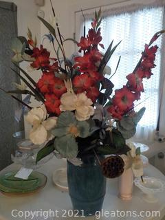 Beautiful Floral Arrangement in Heavy Blue Stoneware Pot