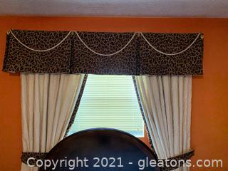 Custom Made Window Valance & Drapes + Bedskirt (Queen)