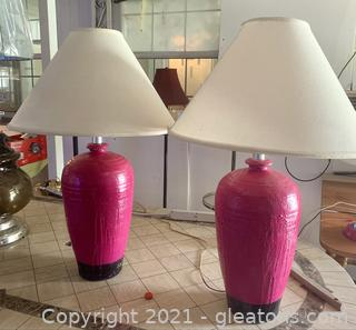 A Pair of Pink Large Lamps