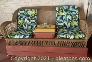 Wicker Patio Set with Wooden Base