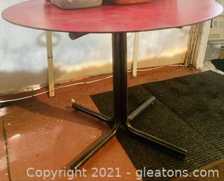 Pink Top Round Metal Table