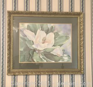 Stylish Magnolia Matted and Framed Print