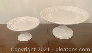 2 Elegant Fruit Embossed Cake Plates