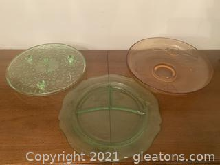 Green and Amber Depression Glass 3 Piece Set