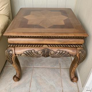 Traditional Wood Inlay Side Table