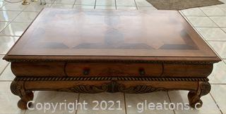 Traditional Wood Inlay Coffee Table