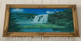 Lighted, Framed Waterfall Art