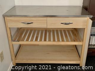Stainless Top Two Drawer Island