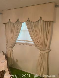 2 Custom Window Cornices and Curtains