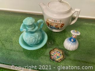 Hand-Painted Teapot, Blue/Green Vintage Avon Bud Vase, Porcelain Daisy Girl , 2 Tiny Metal Hand Painted Tiny Trays
