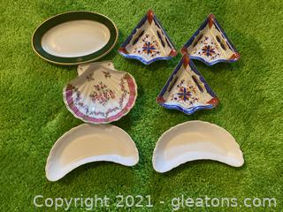 2 Crescent Shapes Dishes, 1 Shell Shaped Dish, 3 Nasco Triangle Dishes, 1 Green Stripe Oval Dish , Lot of 7