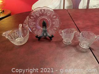 Tiffin Etched Glass (Lot of 4)