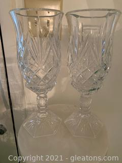 Two Piece Crystal Candle Holders