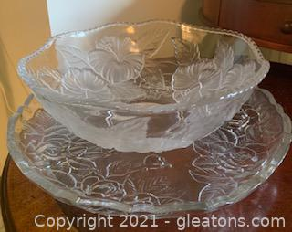 2pc Floral Inspired Glass Serving Dishes