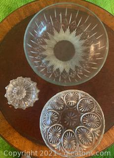 Four Piece Cur Glass Dishes