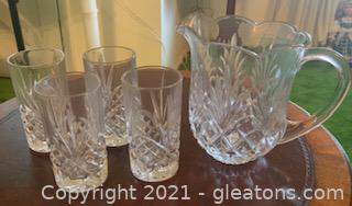 Cut Crystal Pitcher with 4 Water Glasses
