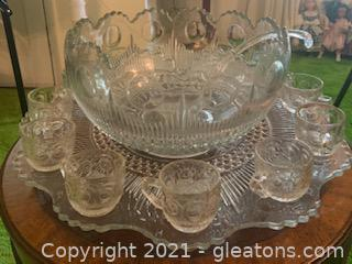 15pc Medallion Cut Glass Punch Bowl Set