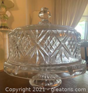 Heavy Cut Glass Cake/Punch Bowl