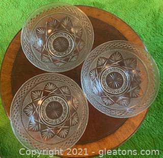 3 Cris D' Arques Luminare Durand Clear Crystal Serving Bowls