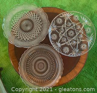 Three Cut Glass Serving Plates
