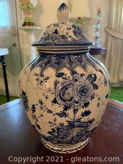 Hand Painted Blue and White Porcelain Jar with Lid