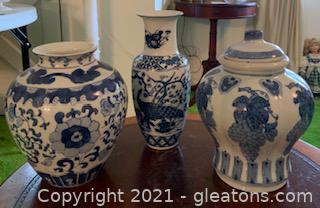 3 Blue & White Decorative Vases