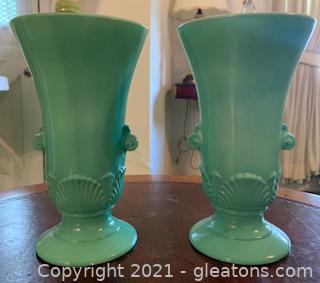Two Vitrock Jadeite Vases