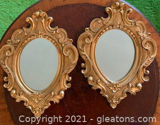 Two Small Ornate Gold Mirrors