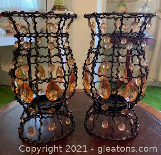 Two Metal Candle Holders