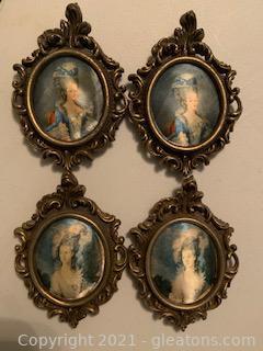 Four Miniature Victorian Fabric Portraits