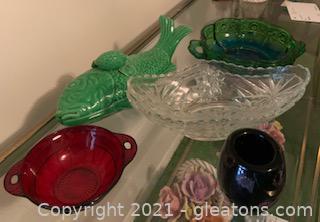 Five Piece Depression Glass Decor